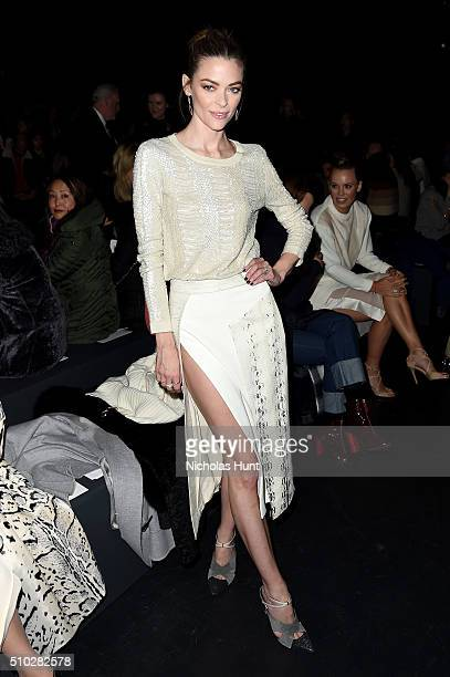 Model Jaime King attends the Prabal Gurung Fall 2016 fashion show during New York Fashion Week The Shows at The Arc Skylight at Moynihan Station on...