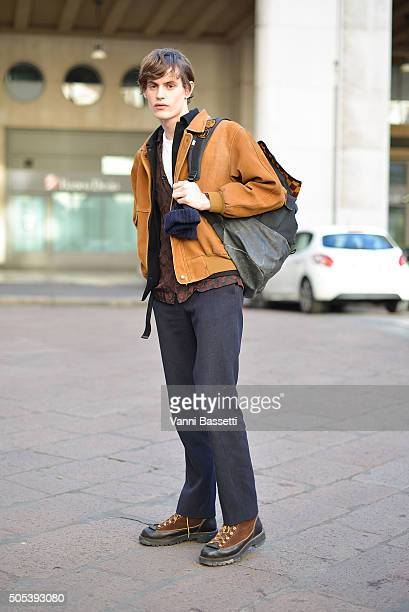 Model Jakub Pastor poses after the Ferragamo show during the Milan Men's Fashion Week Fall/Winter 2016/17 on January 17 2016 in Milan Italy