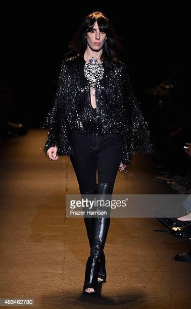 Model Jamie Bochert walks the runway at Naomi Campbell's Fashion For Relief Charity Fashion Show during MercedesBenz Fashion Week Fall 2015 at The...