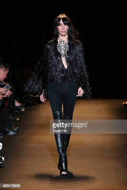 Model Jamie Bochert walks the runway during Naomi Campbell's Fashion For Relief 2015 fall fashion show at The Theater at Lincoln Center on February...