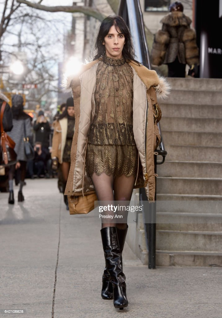 Model Jamie Bochert walks the runway for the Marc Jacobs Fall 2017 Show at Park Avenue Armory on February 16, 2017 in New York City.