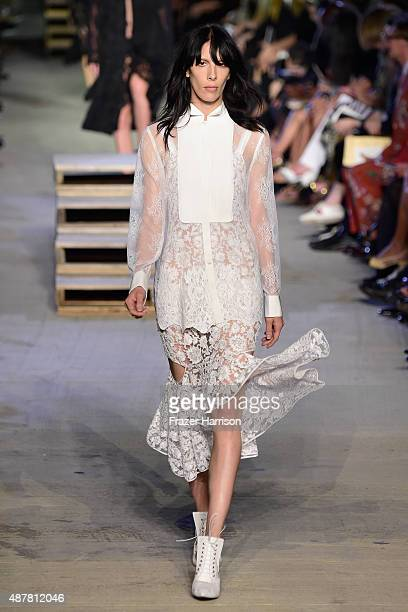 Model Jamie Bochert walks the runway wearing Givenchy Spring 2016 during New York Fashion Week at Pier 26 at Hudson River Park on September 11 2015...