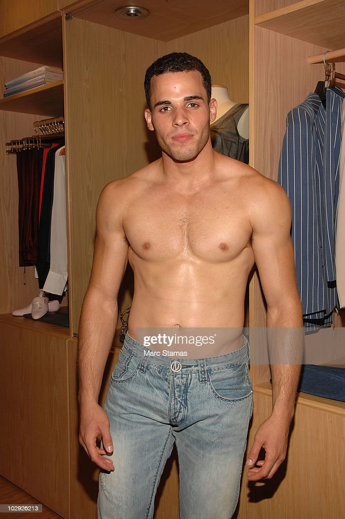 Model Jan Carlos poses backstage at the Domenico Vacca Denim Preview at Domenico Vacca on July 15, 2010 in New York City.