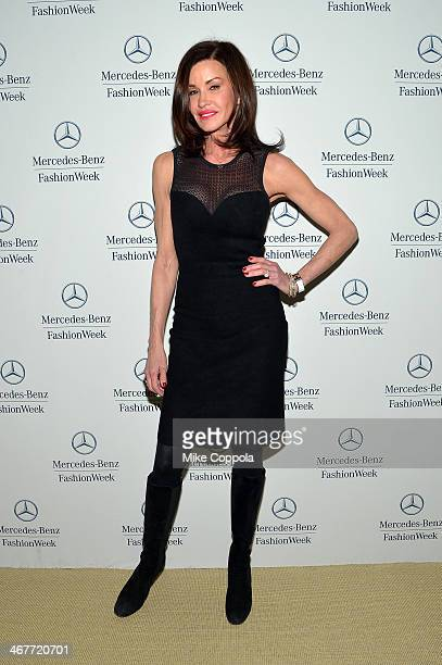 Model Janice Dickinson attends MercedesBenz Fashion Week Fall 2014 at Lincoln Center on February 7 2014 in New York City
