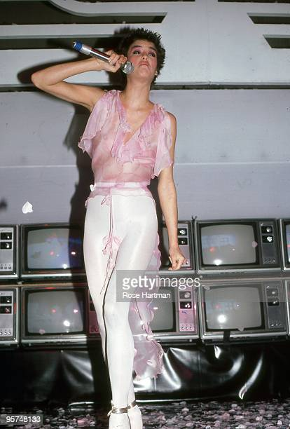 Model Janice Dickinson performs at Studio 54 in 1977 in New York City New York