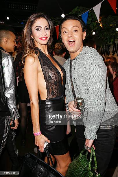 Model Janina Youssefian and german actor Julian Stoeckel attend the unveiling of the Justin Bieber wax figure at Madame Tussauds on November 15 2016...