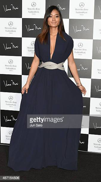 Model Jarah Mariano attends the photocall during the HANAE MORI designed by Yu Amatsu show as part of Mercedes Benz Fashion Week TOKYO 2015 S/S at...