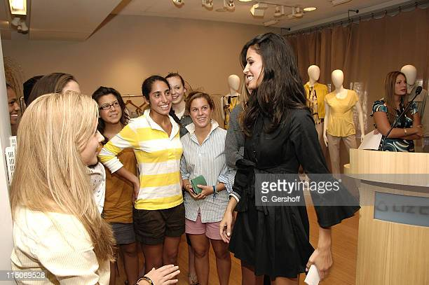 Model Jaslene Gonzalez with audience members at the Press Conference Launching National Education Campaign With LOVEISRESPECTORG at Liz Claiborne on...