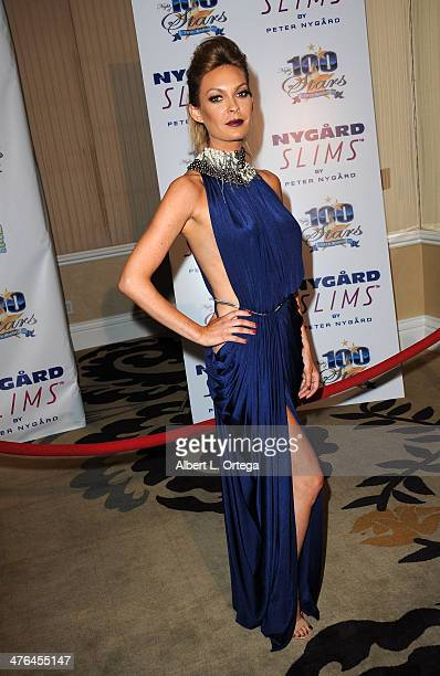 Model Jasmine Dustin arrives for Norby Walters' 24nd Annual Night Of 100 Stars Oscar Viewing Gala held at Beverly Hills Hotel on March 2 2014 in...