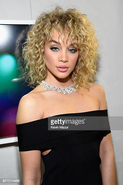 Model Jasmine Sanders wears a Bulgari necklace during An Evening of Music Art Mischief and Performance to benefit Raising Malawi presented by Madonna...