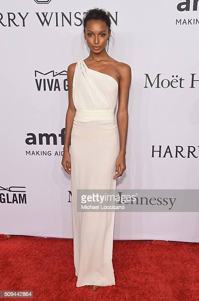 Model Jasmine Tookes attends 2016 amfAR New York Gala at Cipriani Wall Street on February 10 2016 in New York City