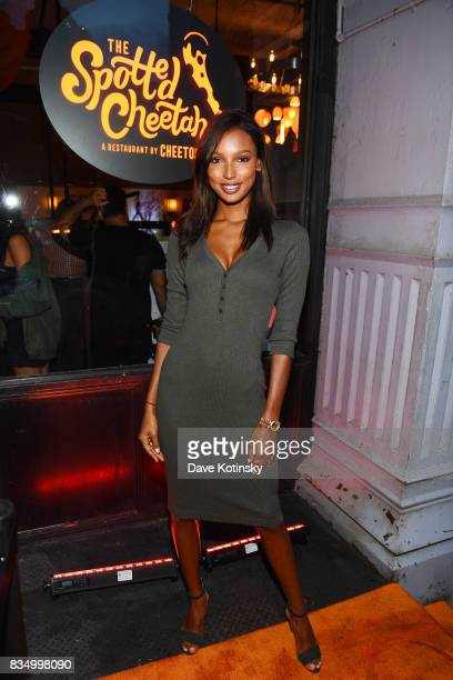 Model Jasmine Tookes attends as Cheetos Brand and Chester Cheetah open the firstever Cheetos restaurant The Spotted Cheetah on August 17 2017 in New...