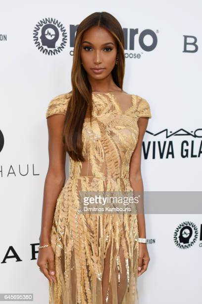 Model Jasmine Tookes attends the 25th Annual Elton John AIDS Foundation's Academy Awards Viewing Party at The City of West Hollywood Park on February...