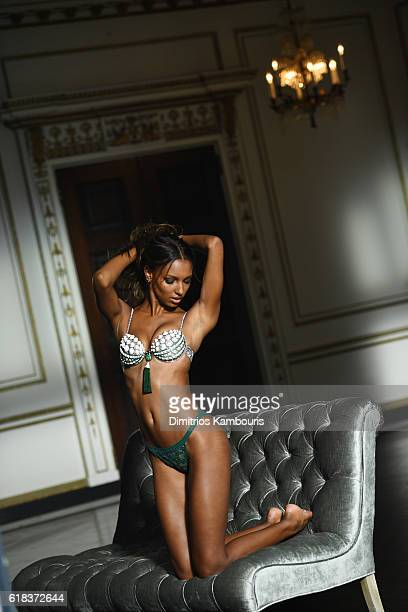 Model Jasmine Tookes poses in the Victoria's Secret Fantasy Bra on October 8 2016 in Gladstone New Jersey