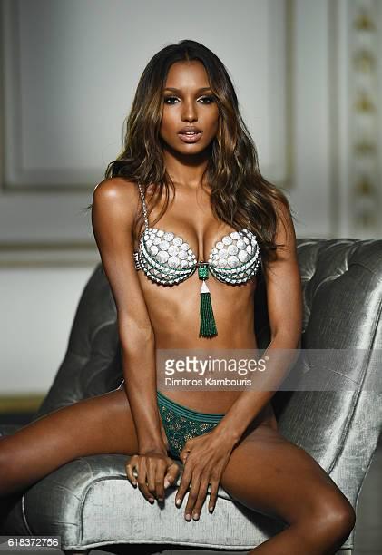 Model Jasmine Tookes poses in the Victoria's Secret Fantasy Bra on October 8 2016 in Gladstone New Jersey