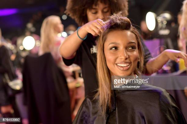 Model Jasmine Tookes prepares in Hair Makeup during 2017 Victoria's Secret Fashion Show In Shanghai at MercedesBenz Arena on November 20 2017 in...
