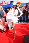 Model Jasmyne Petty arrives with the Life Ball Boeing 777 on May 30 2014 in Vienna Austria The Life Ball an annual charity ball raising funds for HIV...