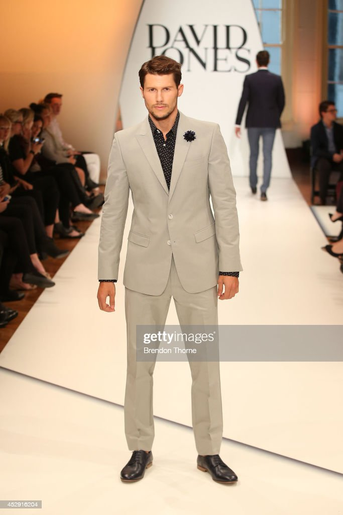 Model <a gi-track='captionPersonalityLinkClicked' href=/galleries/search?phrase=Jason+Dundas&family=editorial&specificpeople=578396 ng-click='$event.stopPropagation()'>Jason Dundas</a> showcases designs by Calibre during a rehearsal ahead of the David Jones Spring/Summer 2014 Collection Launch at David Jones Elizabeth Street Store on July 30, 2014 in Sydney, Australia.