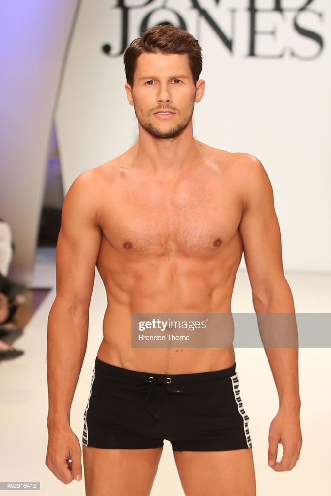 Model <a gi-track='captionPersonalityLinkClicked' href=/galleries/search?phrase=Jason+Dundas&family=editorial&specificpeople=578396 ng-click='$event.stopPropagation()'>Jason Dundas</a> showcases designs by Jets during a rehearsal ahead of the David Jones Spring/Summer 2014 Collection Launch at David Jones Elizabeth Street Store on July 30, 2014 in Sydney, Australia.