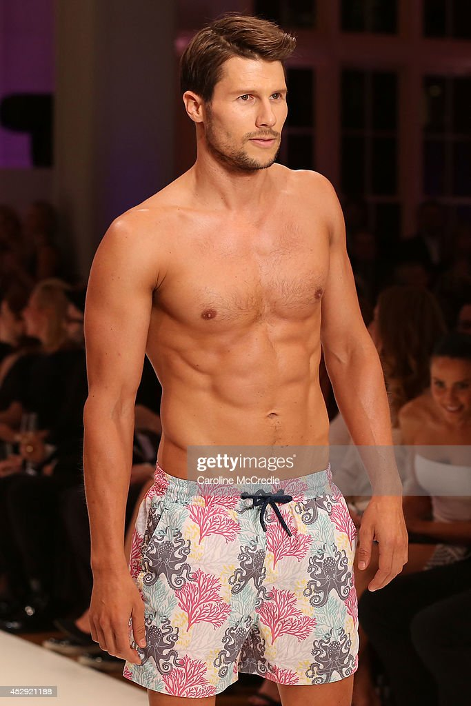 Model <a gi-track='captionPersonalityLinkClicked' href=/galleries/search?phrase=Jason+Dundas&family=editorial&specificpeople=578396 ng-click='$event.stopPropagation()'>Jason Dundas</a> showcases designs by The Rocks Push at the David Jones Spring/Summer 2014 Collection Launch at David Jones Elizabeth Street Store on July 30, 2014 in Sydney, Australia.