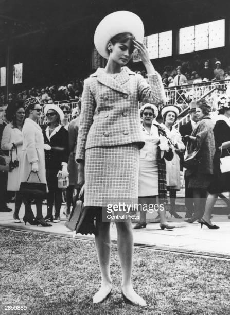 Model Jean Shrimpton at the races in Melbourne Australia