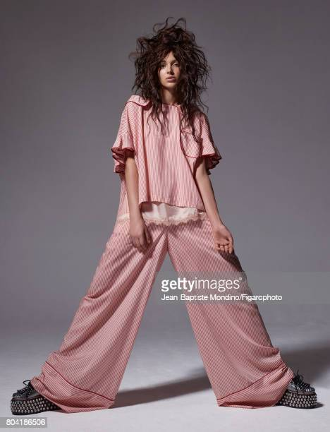 Model Jenaye Noah poses at a fashion shoot for Madame Figaro on May 3 2017 in Paris France Shirt pants and tank top shoes PUBLISHED IMAGE CREDIT MUST...