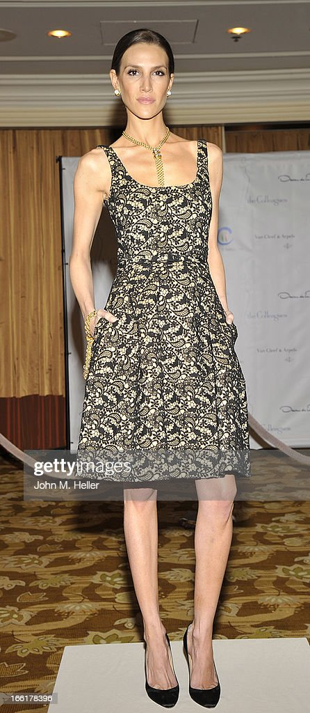 Model Jenna Hurt seen wearing an Oscar de la Renta dress at the 25th annual Colleagues Luncheon at the Beverly Wilshire Hotel on April 9, 2013 in Beverly Hills, California.