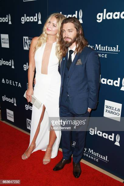 Model Jennifer Akerman and Actor Tom Payne attends the 28th Annual GLAAD Media Awards at The Beverly Hilton Hotel on April 1 2017 in Beverly Hills...