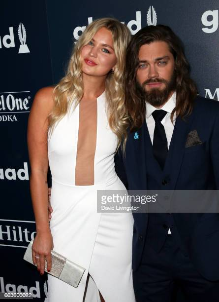 Model Jennifer Akerman and Tom Payne attend the 28th Annual GLAAD Media Awards at The Beverly Hilton Hotel on April 1 2017 in Beverly Hills California