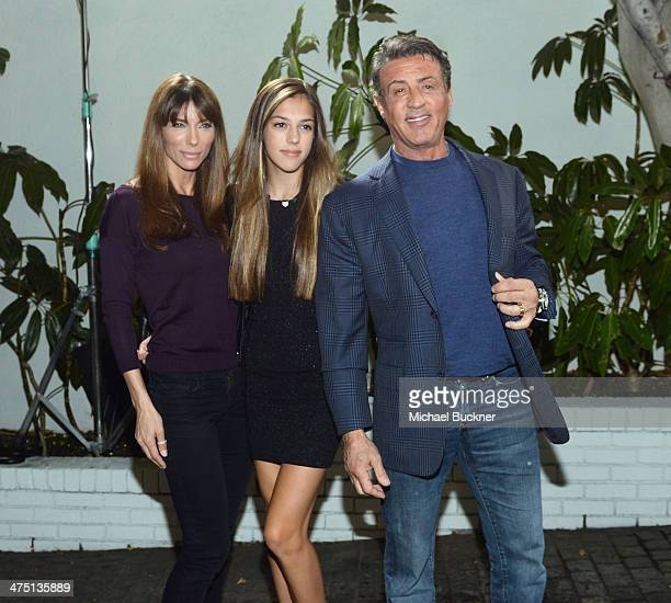 Model Jennifer Flavin Sistine Rose Stallone and actor Sylvester Stallone attend The Annie Leibovitz SUMOSize Book Launch presented by Vanity Fair...