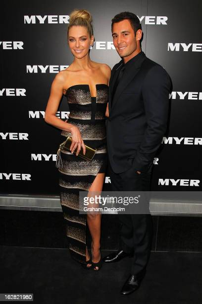 Model Jennifer Hawkins and Jake Wall arrive at the Myer Autumn/Winter 2013 collections launch at Mural Hall at Myer on February 28 2013 in Melbourne...