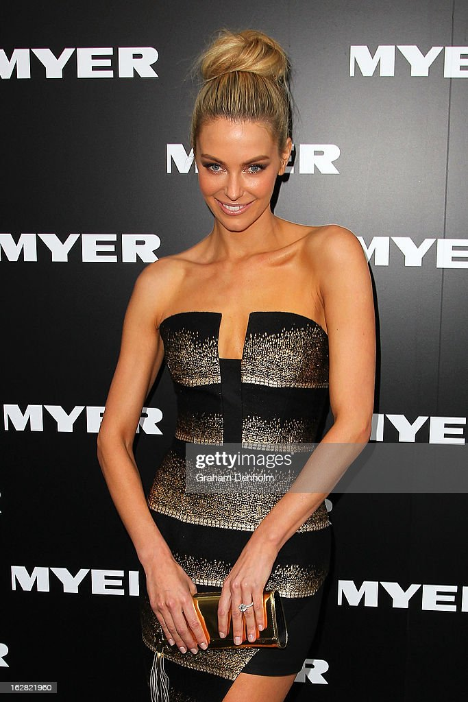Model Jennifer Hawkins arrives at the Myer Autumn/Winter 2013 collections launch at Mural Hall at Myer on February 28, 2013 in Melbourne, Australia.