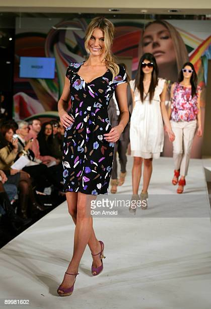 Model Jennifer Hawkins showcases designs as part of the Myer Spring/Summer Collection showcase instore at Myer Sydney City on August 21 2009 in...