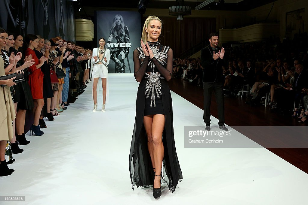 Model Jennifer Hawkins showcases designs by Sass & Bide at the Myer Autumn/Winter 2013 collections launch at Mural Hall at Myer on February 28, 2013 in Melbourne, Australia.