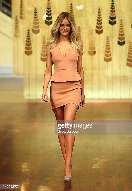 Model Jennifer Hawkins showcases designs by Yeojin Bae on the catwalk at the Myer A/W 2012 Collection Launch on March 1 2012 in Melbourne Australia