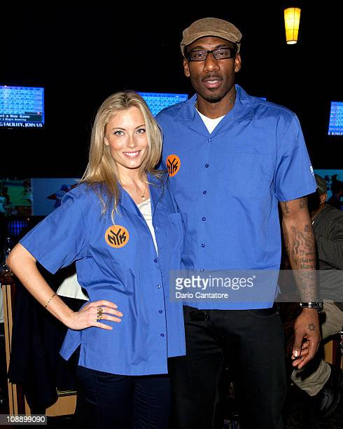 Model Jennifer Ohlsson and Amare Stoudemire attend Knicks Bowl 12 at the Chelsea Piers bowling lanes on February 7 2011 in New York City