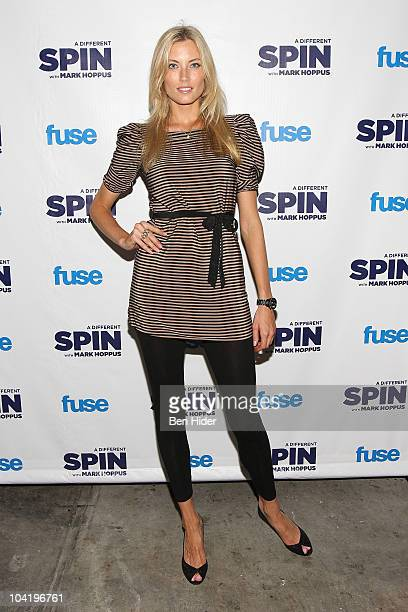 Model Jennifer Ohlsson attends the launch party for FUSE's 'A Different Spin With Mark Hoppus' at the MPD Restaurant on September 16 2010 in New York...