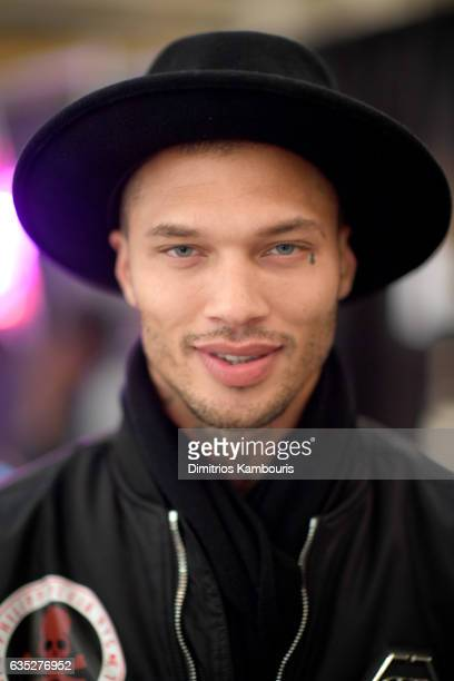 Model Jeremy Meeks prepares backstage for the Philipp Plein Fall/Winter 2017/2018 Women's And Men's Fashion Show at The New York Public Library on...