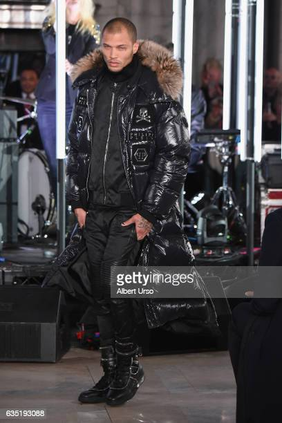 Model Jeremy Meeks the runway for the Philipp Plein collection during New York Fashion Week The Shows at New York Public Library on February 13 2017...
