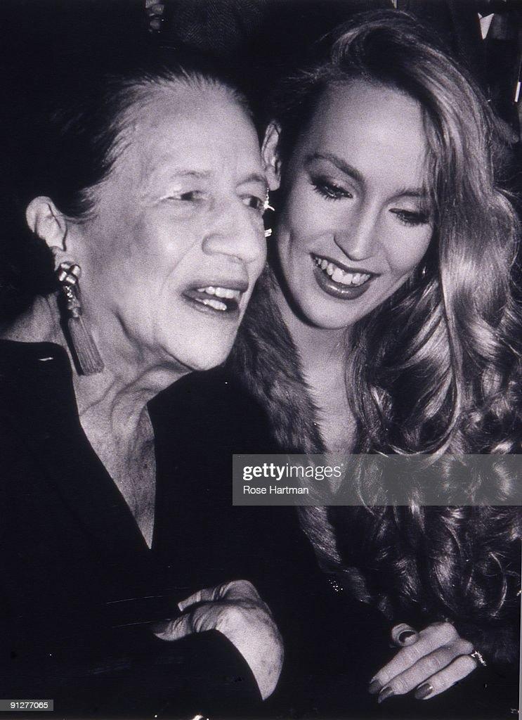 Model Jerry Hall (right) and fashion editor Diana Vreeland (1903 - 1989) at Studio 54, New York, 1977.