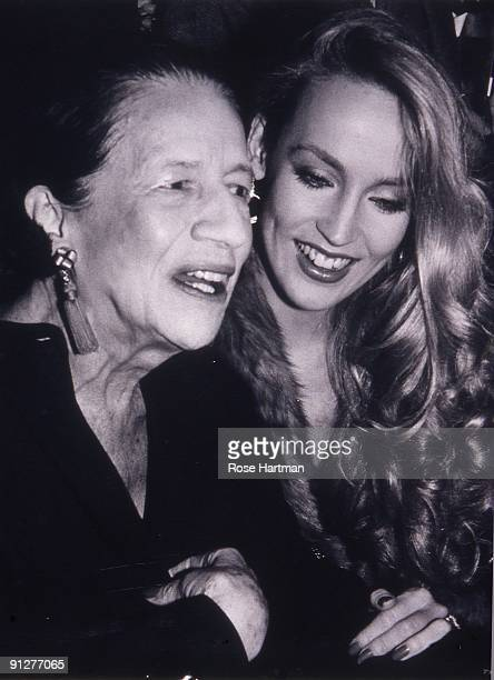 Model Jerry Hall and fashion editor Diana Vreeland at Studio 54 New York 1977