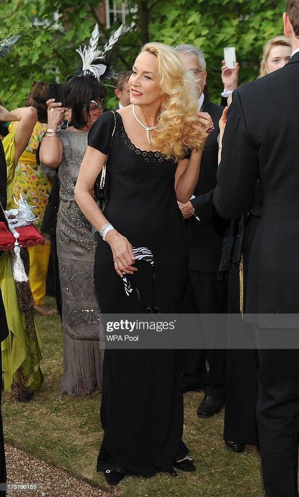 Model <a gi-track='captionPersonalityLinkClicked' href=/galleries/search?phrase=Jerry+Hall&family=editorial&specificpeople=171120 ng-click='$event.stopPropagation()'>Jerry Hall</a> attends a reception hosted by Prince Charles, Prince of Wales and Duchess of Cornwall, a charity working to save the Asian Elephant from extinction in the wild, at Clarence House on July 09, 2013 in London, England.