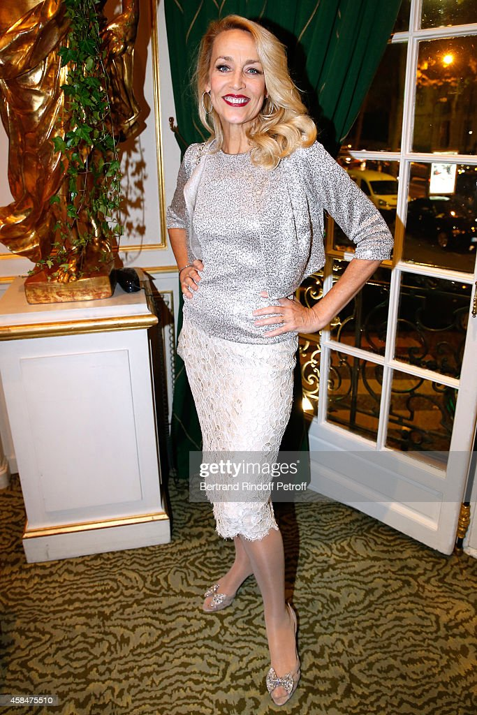 Model Jerry Hall attends the 'Loulou de la Falaise' book signing Held at the Fondation 'Pierre Berge Yves Saint Laurent' on November 5 2014 in Paris...