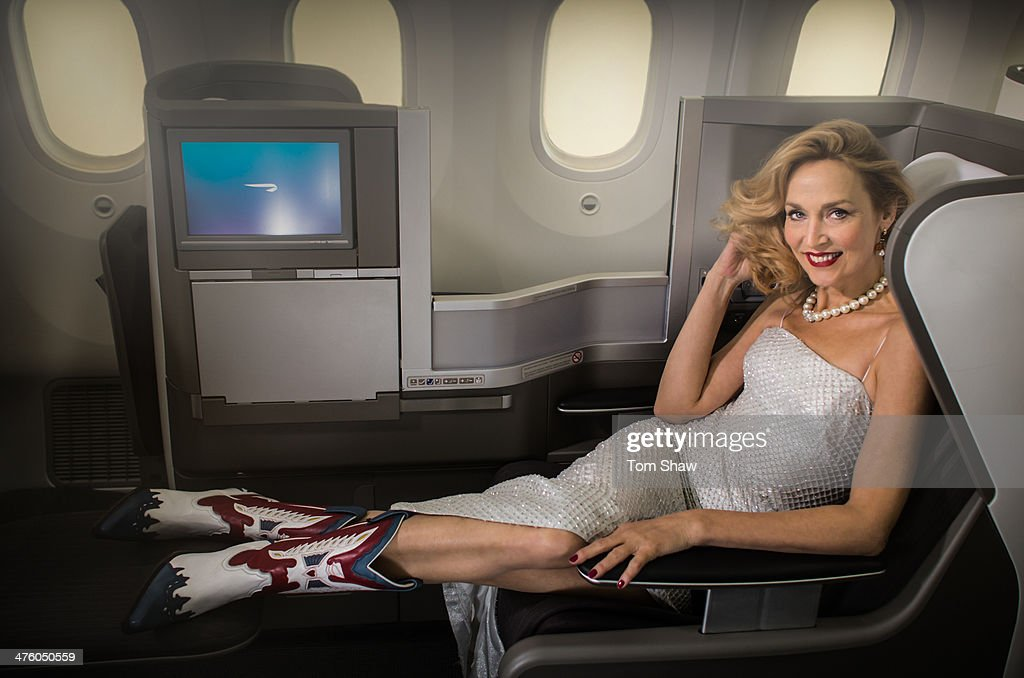Model Jerry Hall poses on board a British Airways 787 Dreamliner during a photoshoot to launch direct flights to Austin at Heathrow on February 20...