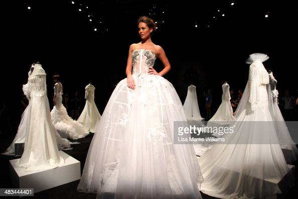 Model Jesinta Campbell poses during rehearsal ahead of the Lan Yu show at MercedesBenz Fashion Week Australia 2014 at Carriageworks on April 9 2014...