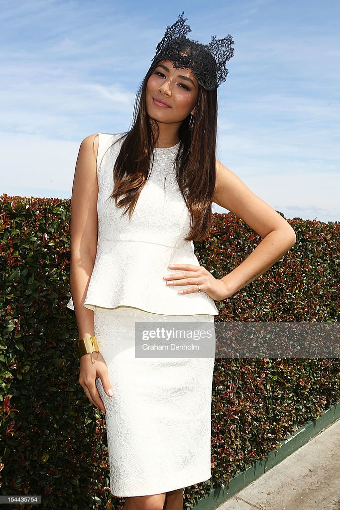 Model Jessica Gomes attends Caulfield Cup Day at Caulfield Racecourse on October 20, 2012 in Melbourne, Australia.