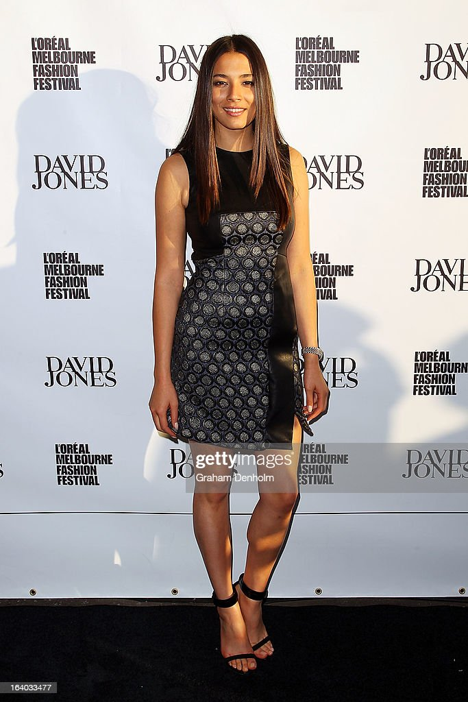 Model Jessica Gomes poses as she arrives for the L'Oreal Melbourne Fashion Festival Opening Event presented by David Jones at Docklands on March 19, 2013 in Melbourne, Australia.