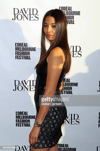 Model Jessica Gomes poses as she arrives for the L'Oreal Melbourne Fashion Festival Opening Event presented by David Jones at Docklands on March 19...