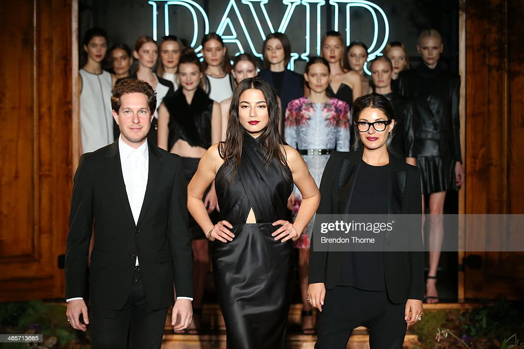 Model, <a gi-track='captionPersonalityLinkClicked' href=/galleries/search?phrase=Jessica+Gomes&family=editorial&specificpeople=4319063 ng-click='$event.stopPropagation()'>Jessica Gomes</a> poses with designers <a gi-track='captionPersonalityLinkClicked' href=/galleries/search?phrase=Camilla+Freeman&family=editorial&specificpeople=578400 ng-click='$event.stopPropagation()'>Camilla Freeman</a>-Topper and Marc Freeman of Camilla and Marc during rehearsal for the David Jones A/W 2014 Collection Launch at the David Jones Elizabeth Street Store on January 29, 2014 in Sydney, Australia.