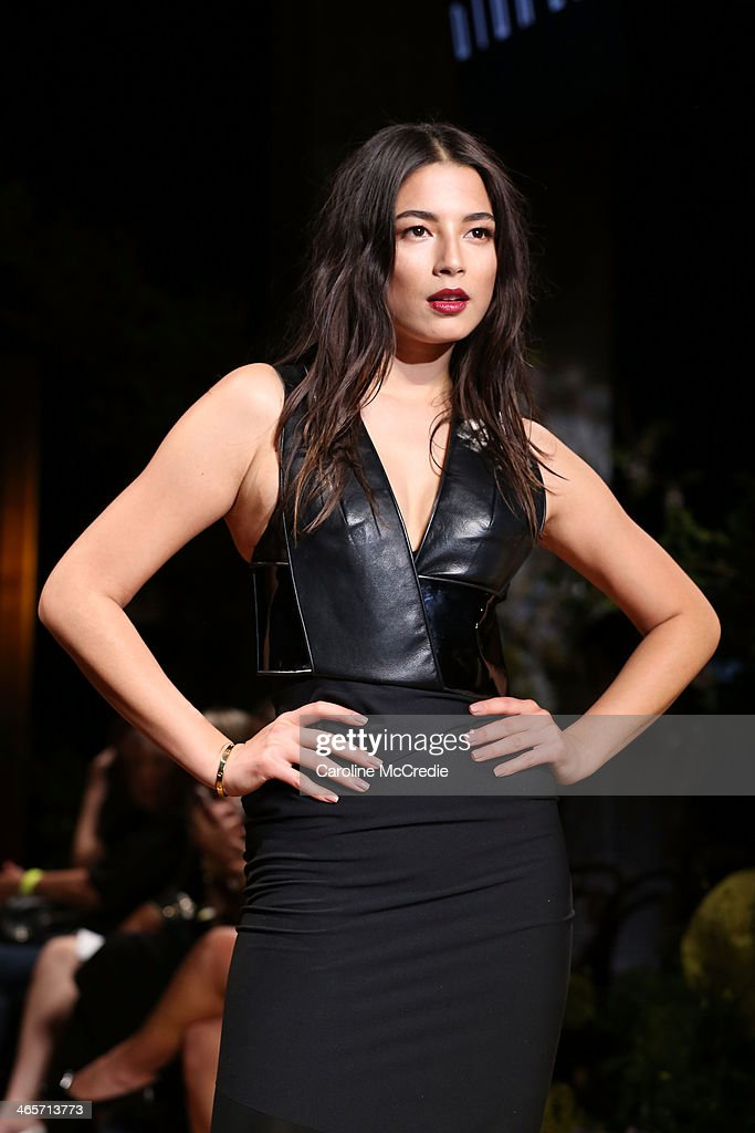 Model, <a gi-track='captionPersonalityLinkClicked' href=/galleries/search?phrase=Jessica+Gomes&family=editorial&specificpeople=4319063 ng-click='$event.stopPropagation()'>Jessica Gomes</a>, showcases designs by Camilla and Marc during rehearsal for the David Jones A/W 2014 Collection Launch at the David Jones Elizabeth Street Store on January 29, 2014 in Sydney, Australia.